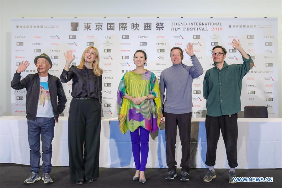 Jury members Ryuichi Hiroki, Julie Gayet, Zhang Ziyi, Bill Gerber, Michael Noer (from L to R) pose for photos at a press conference during the 32nd Tokyo International Film Festival in Tokyo, Japan, Oct. 29, 2019. (Xinhua/Ma Caoran)<br/>