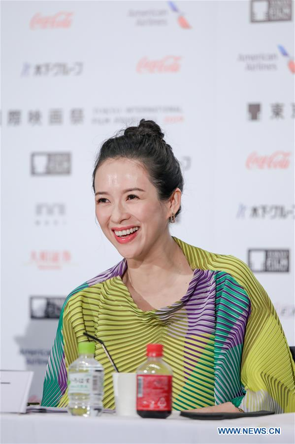 <br/> Jury President, actress Zhang Ziyi smiles at a press conference during the 32nd Tokyo International Film Festival in Tokyo, Japan, Oct. 29, 2019. (Xinhua/Ma Caoran)<br/>
