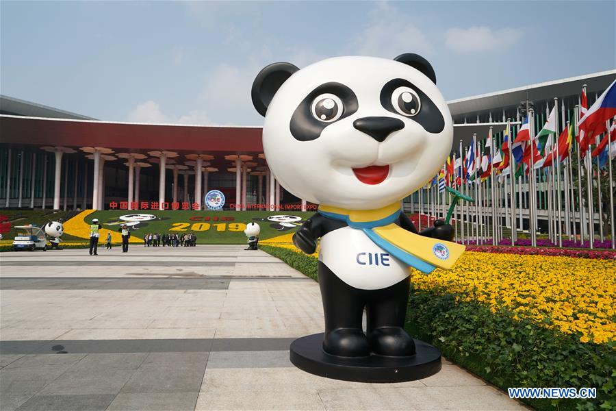 Photo taken on Nov. 4, 2019 shows Jinbao, mascot of the China International Import Expo (CIIE), at the south square of the National Exhibition and Convention Center (Shanghai), a main venue for the second CIIE, in Shanghai, east China. The second CIIE is scheduled to run from Nov. 5 to Nov. 10 in Shanghai. (Xinhua/Yin Gang)<br/>