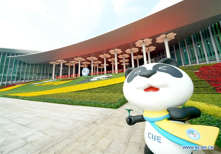Photo shows Jinbao, mascot of the China International Import Expo (CIIE), at the south square of the National Exhibition and Convention Center (Shanghai), a main venue for the second CIIE, in Shanghai, east China, Nov. 4, 2019. The second CIIE is scheduled to run from Nov. 5 to Nov. 10 in Shanghai. (Xinhua/Chen Jianli)<br/>