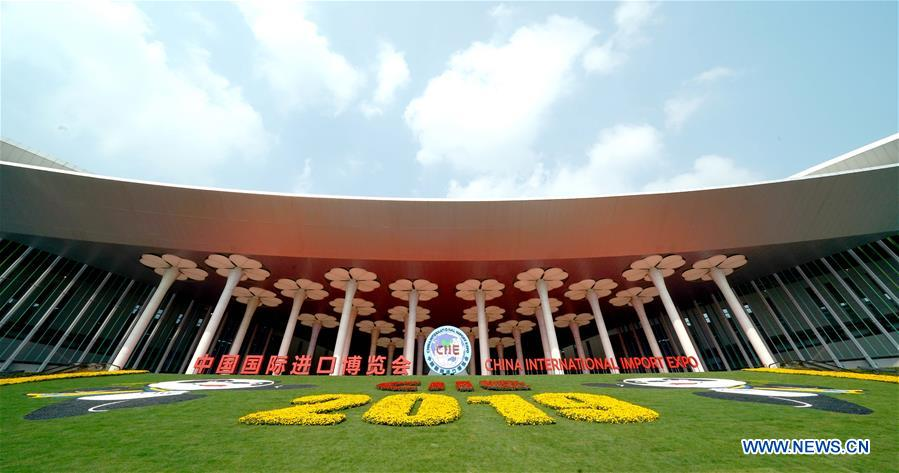 Photo shows the south square of the National Exhibition and Convention Center (Shanghai), a main venue for the second China International Import Expo (CIIE), in Shanghai, east China, Nov. 4, 2019. The second CIIE is scheduled to run from Nov. 5 to Nov. 10 in Shanghai. (Xinhua/Chen Jianli)
