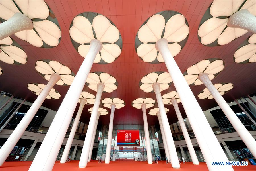 Photo taken on Nov. 4, 2019 shows a view of the National Exhibition and Convention Center (Shanghai), a main venue for the second China International Import Expo (CIIE), in Shanghai, east China. The second CIIE is scheduled to run from Nov. 5 to Nov. 10 in Shanghai. (Xinhua/Chen Jianli)<br/>
