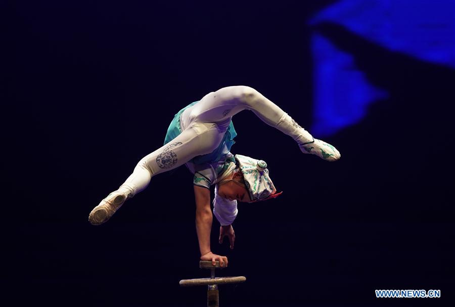 A Chinese acrobat perfoms during the 17th China Wuqiao International Circus Festival in Cangzhou, north China's Hebei Peovince, Nov. 7, 2019. The 17th China Wuqiao International Circus Festival concluded here on Thursday. Founded in 1987, the biennial festival is regarded as China's longest-running international circus festival, while boasting a wide influence in the field of acrobatics. (Xinhua/Mu Yu)<br/>