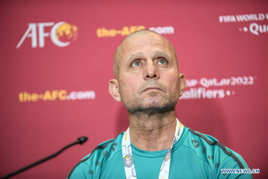 Fajer Ebrahim, head coach of Syria, reacts during a press conference before the group A match between China and Syria of the FIFA World Cup Qatar 2022 and AFC Asian Cup China 2023 Preliminary Joint Qualification Round 2 in Dubai, the United Arab Emirates, Nov. 13, 2019. (Xinhua/Pan Yulong)
