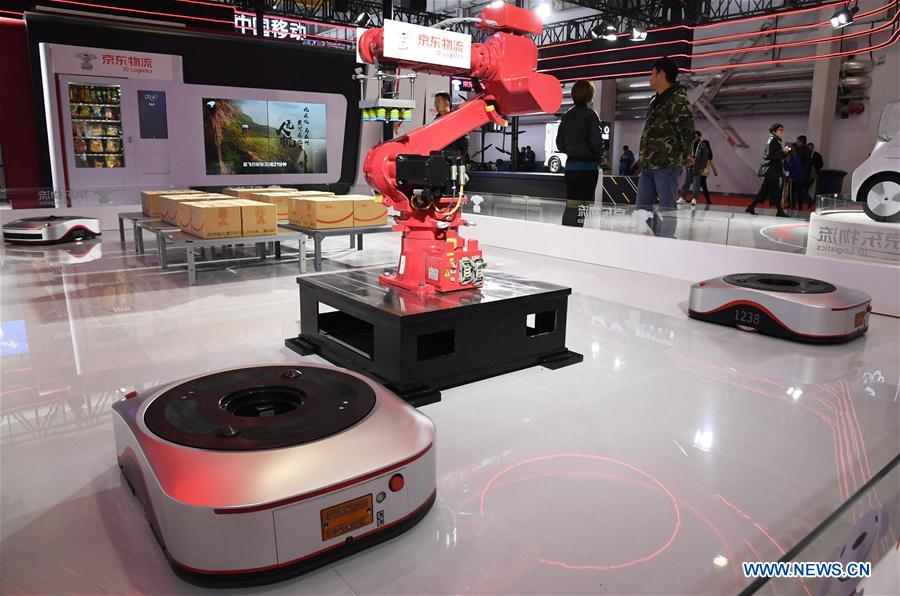 "Photo shows an unmanned warehouse at the 2019 World 5G Convention in Beijing, capital of China, Nov. 21, 2019. Themed ""5G changes the world, 5G creates the future,"" the 2019 World 5G Convention kicked off Thursday in Beijing. (Xinhua/Ren Chao)<br/>"
