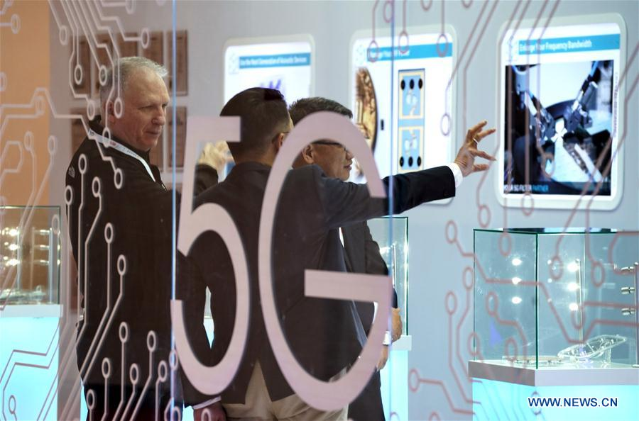 "People visit the 2019 World 5G Convention in Beijing, capital of China, Nov. 21, 2019. Themed ""5G changes the world, 5G creates the future,"" the 2019 World 5G Convention kicked off Thursday in Beijing. (Xinhua/Li Xin)<br/>"