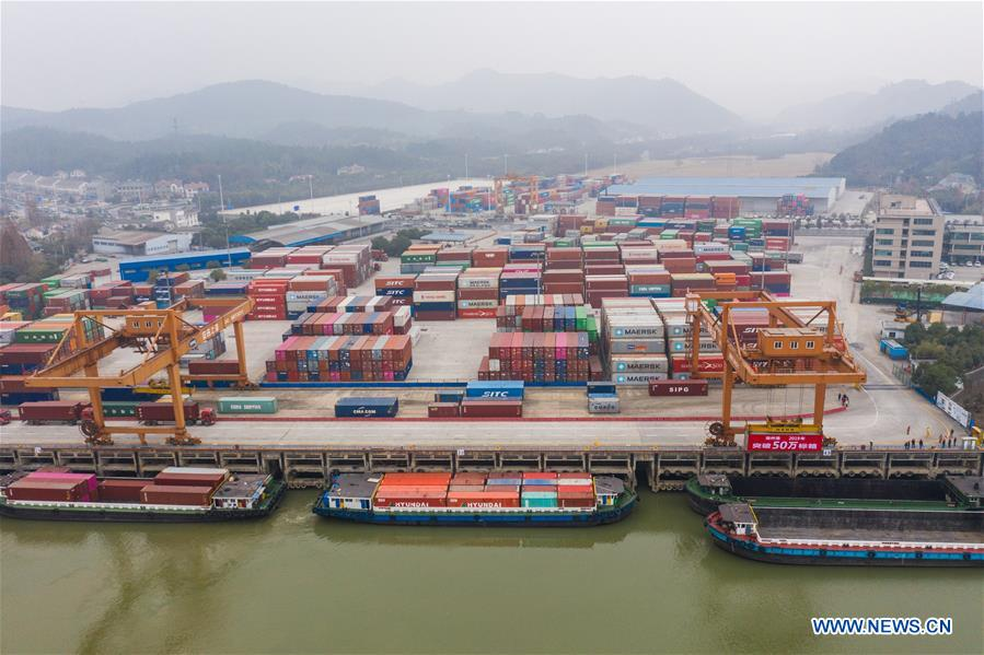 Aerial photo taken on Dec. 17, 2019 shows a container terminal in Anji County of Huzhou City, east China's Zhejiang Province. The container throughput of the Huzhou Port has exceeded 0.5 million TEU by far this year, while the number of export containers raised 17.2 percent compared with the same period last year. (Xinhua/Xu Yu)