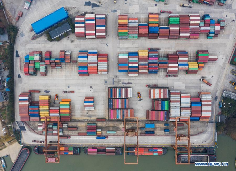 Aerial photo taken on Dec. 17, 2019 shows a container terminal in Anji County of Huzhou City, east China's Zhejiang Province. The container throughput of the Huzhou Port has exceeded 0.5 million TEU by far this year, while the number of export containers raised 17.2 percent compared with the same period last year. (Xinhua/Xu Yu)<br/>