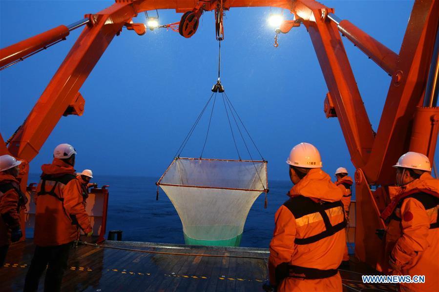 Members of China's 36th Antarctic expedition team collect fish samples aboard China's polar icebreaker Xuelong 2, or Snow Dragon 2, Jan. 1, 2020. (Xinhua/Liu Shiping)<br/>