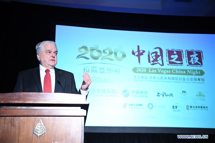<br/> Nevada Governor Steve Sisolak addresses the 2020 Las Vegas China Night in Las Vegas, the United States, Jan. 6, 2020. The 2020 Las Vegas China Night was held on the eve of the 2020 Consumer Electronics Show (CES) in Las Vegas, to promote more communication and cooperation between Chinese and American companies in the field of consumer electronics. (Xinhua/Wu Xiaoling)<br/>