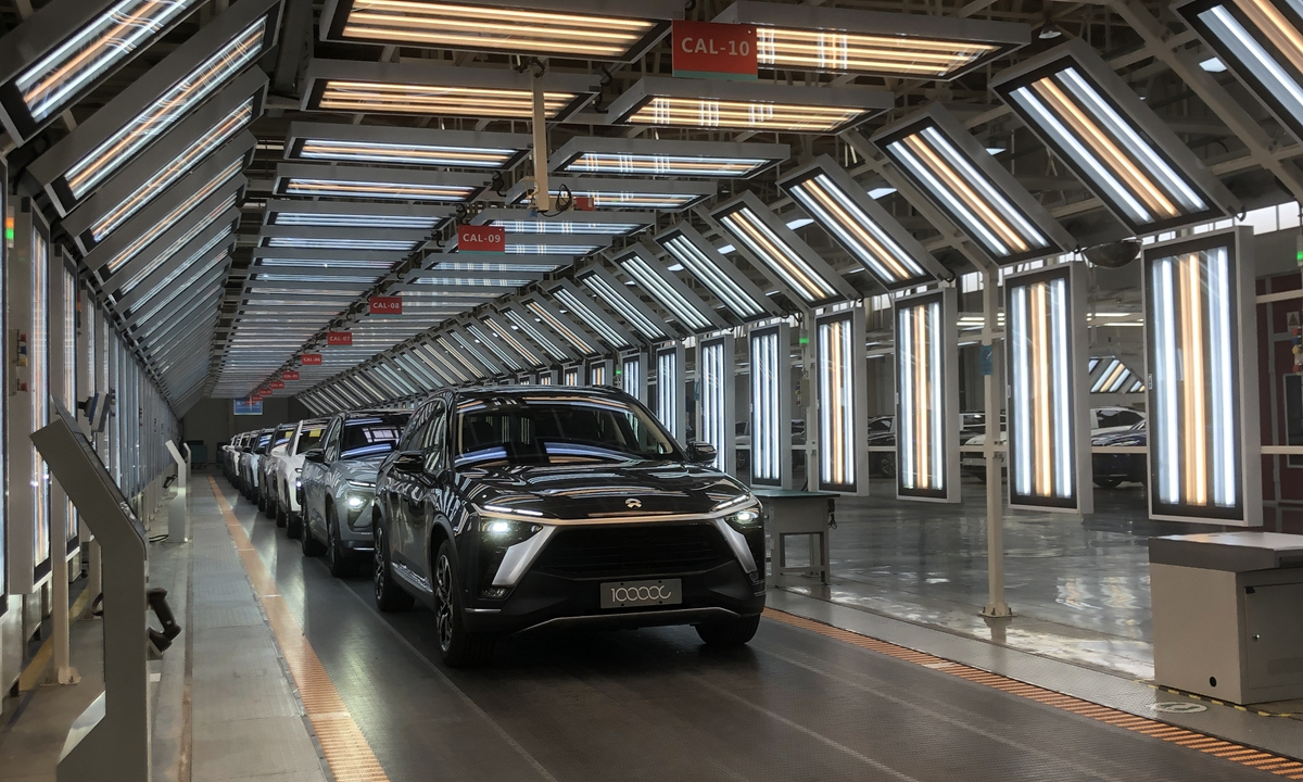 Nio''s 100,000th production vehicle ES8 rolls off the assembly line on Wednesday in Hefei, capital of East China''s Anhui Province. Photo: Zhang Hongpei/GT