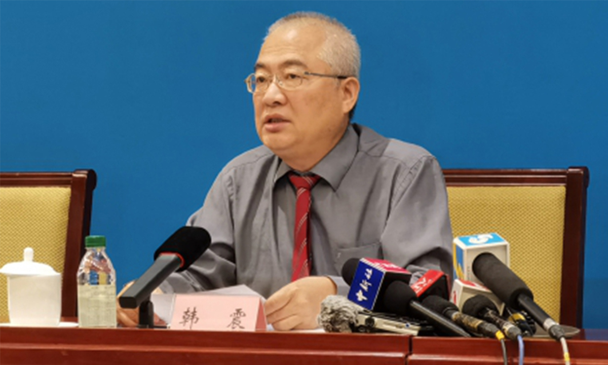 Han Zhen, a member of the National Textbook Committee, introduces a guideline to incorporate Xi Jinping Thought on Socialism with Chinese Characteristics for a New Era into the curriculum at a Tuesday press conference. Photo: MOE